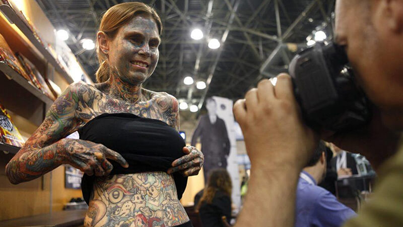 Illustrated Lady Body Full Of Tattoos
