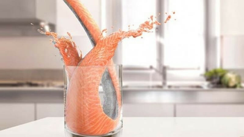 Exito fish pouring advertisement