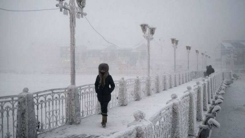 Person walking in cold at Oymyakon