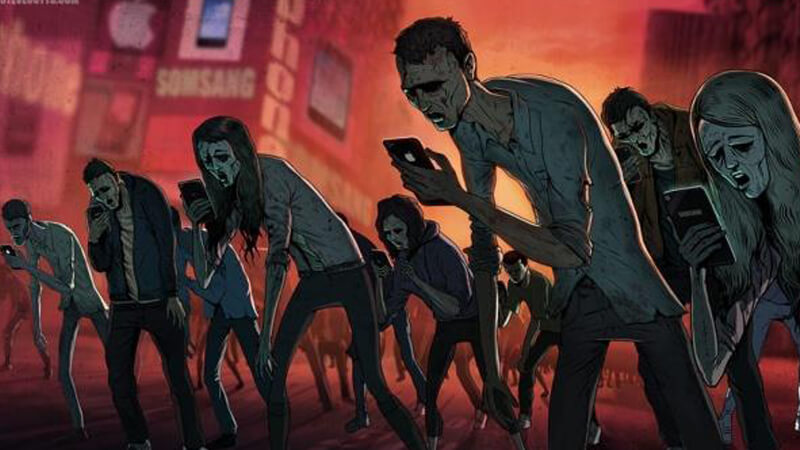 Humans made into zombies by technology illustrations