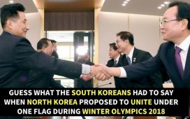 North and South Korean Delegates shaking hands
