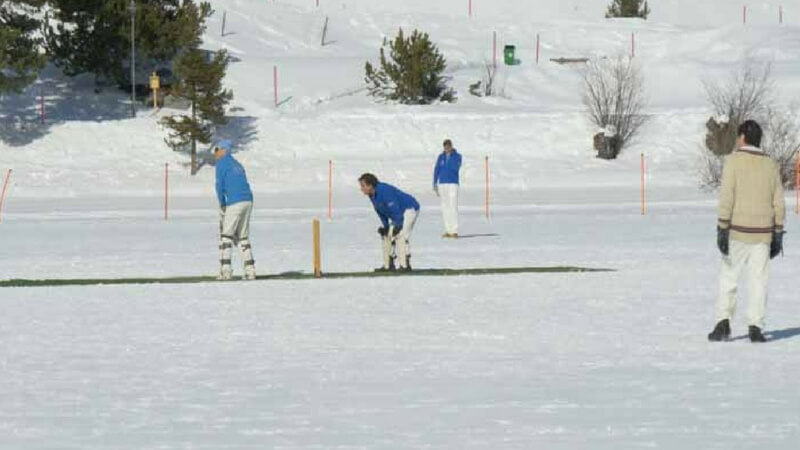Players palying on Ice cricket field