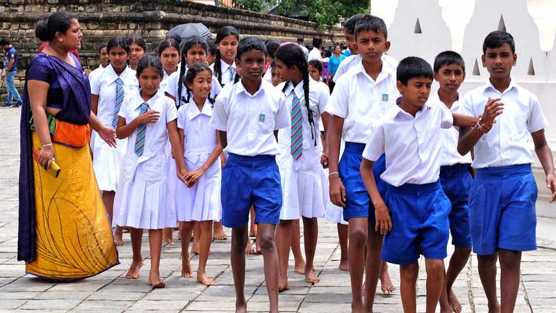 In Sri Lanka, students have to wear white uniforms.