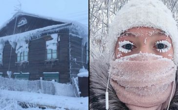 Villager and town freezing in the cold at Oymyakon