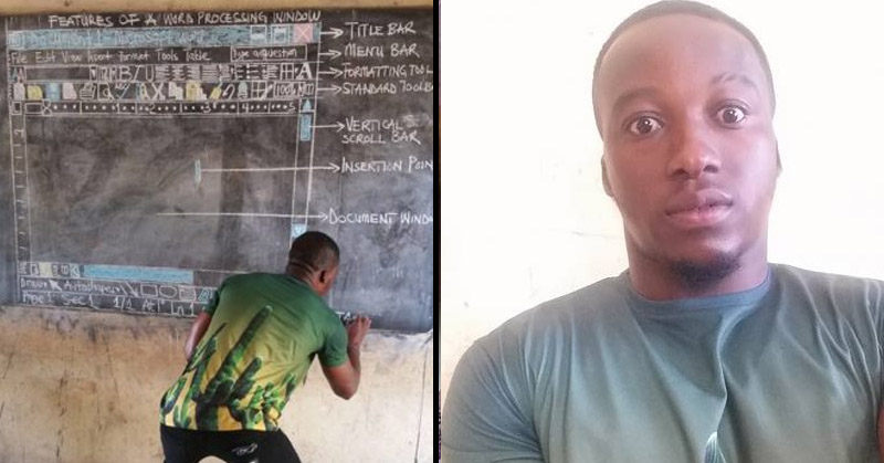 Teacher in Ghana draws MS word on blackboard