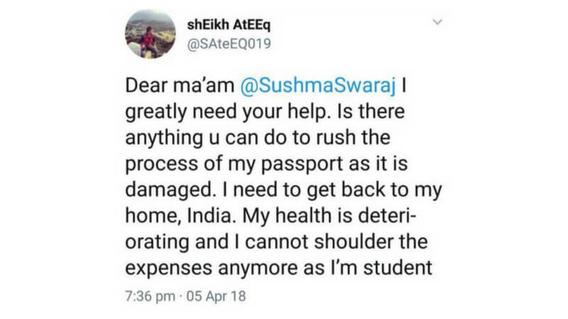 Student Approaches Sushma Swaraj On Twitter
