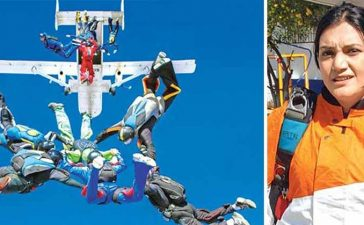 Woman Skydiving In Saree In Pune