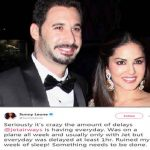 Sunny Leone And Daniel Weber Thrashed Jet Airways On Twitter Due To Their Discomfort
