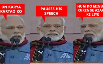 PM Modi pauses while speech