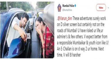 Mumbai Police Send An E-Challan To Varun Dhawan For His Stunt On The Road